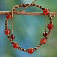 Carnelian beaded bracelet, 'Peace' - Carnelian Beaded Cotton Beaded Macrame Bracelet