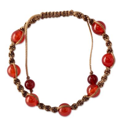 Carnelian beaded bracelet, 'Peace' - Carnelian Beaded Cotton Beaded Macrame Bracelet