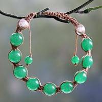 Jade Shambhala-style bracelet, 'Meditate' - Indian Cotton Shambhala-style Jade Bracelet Crafted by Hand