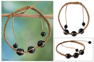 Onyx Shambhala-style bracelet, 'Tranquil Protection' - Artisan Crafted  Indian Shambhala-style Bracelet with Onyx
