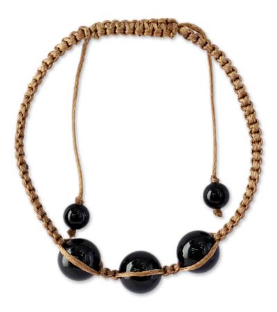 Artisan Crafted Indian Shamballa Bracelet with Onyx