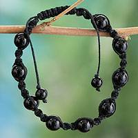 Onyx macrame bracelet, 'Blissful Protection'