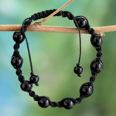 Onyx macrame bracelet, 'Blissful Protection' - Cotton Beaded Onyx Bracelet Protection Jewelry