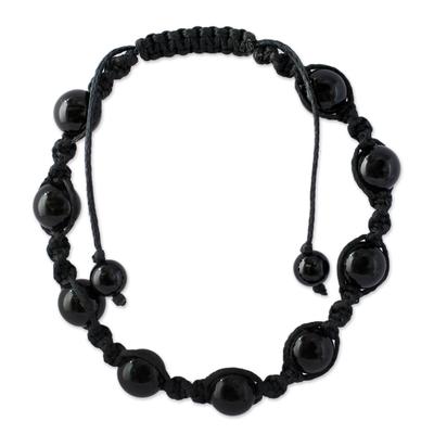 Onyx macrame bracelet, 'Blissful Protection' - Cotton Beaded Onyx Bracelet Protection Jewelry