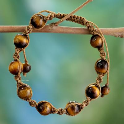 Tiger's eye Shambhala-style bracelet, 'Blissful Insight' - Artisan Crafted Cotton Shambhala-style Tigers Eye Bracelet