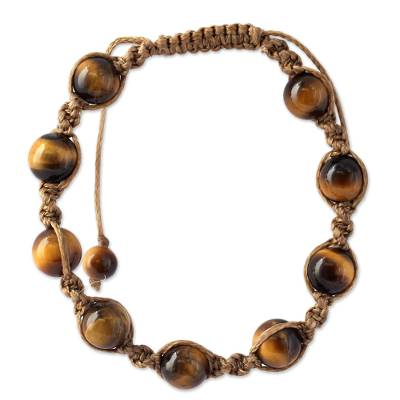 Artisan Crafted Cotton Shamballa Tigers Eye Bracelet