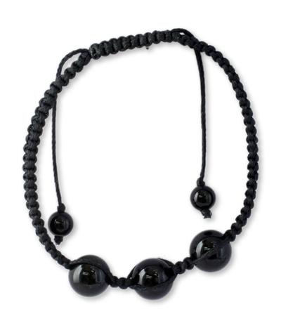 Protection Jewelry Cotton Beaded Onyx Bracelet