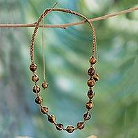 Tiger's eye Shambhala-style necklace, 'Oneness'