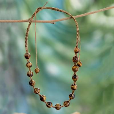 Tiger's eye Shambhala-style necklace, 'Oneness' - Artisan Crafted Cotton Shambhala-style Tigers Eye Necklace