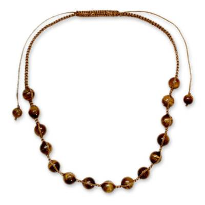 Artisan Crafted Cotton Shamballa Tigers Eye Necklace