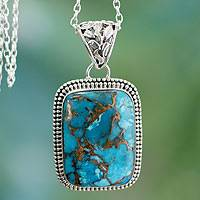 Sterling silver pendant necklace, 'Delhi Blue' - Sterling Silver and Recon Turquoise Necklace from India
