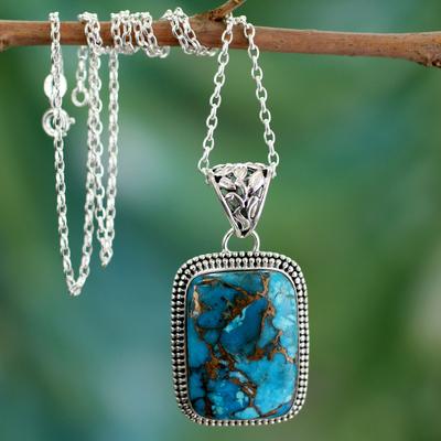 Sterling silver pendant necklace, 'Delhi Blue' - Sterling Silver and Recon Turquoise Necklace from India