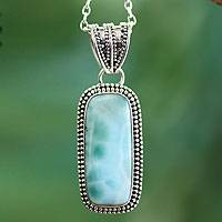 Larimar pendant necklace, 'Serene Sea' - Handcrafted Sterling Silver Turquoise Colored Necklace