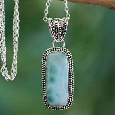 Larimar pendant necklace, 'Serene Sea' - Handcrafted Sterling Silver Turquoise coloured Necklace