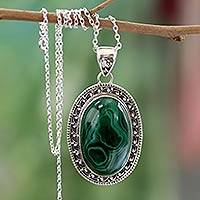 Malachite pendant necklace, 'Forest Whirlwind' - Sterling Silver Necklace Malachite Jewelry from India