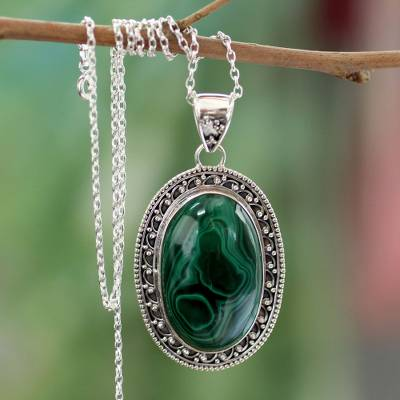 Malachite pendant necklace, 'Forest Whirlwind' - Sterling Silver Necklace Malachite jewellery from India
