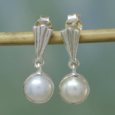 Pearl dangle earrings, 'Peaceful Soul' - Pearl dangle earrings
