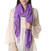 Wool and silk shawl, 'Extravagant Lilac' - Wool and silk shawl