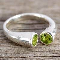 Peridot wrap ring, 'Face to Face' - Handcrafted jewellery Silver and Peridot Wrap Ring from Indi