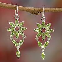 Peridot chandelier earrings, 'Starlight' - Fair Trade Peridot Earrings