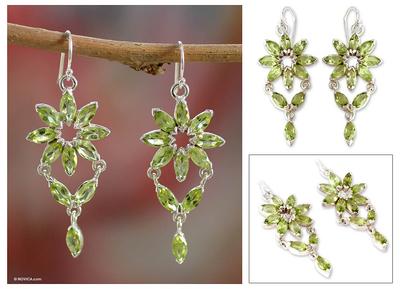 Peridot chandelier earrings, 'Starlight' - Fair Trade Peridot Earrings