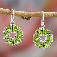 Peridot dangle earrings, 'Bengali Star' - Peridot and Sterling Silver Earrings from Modern Jewelry