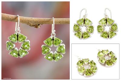 Peridot dangle earrings, 'Bengali Star' - Peridot and Sterling Silver Earrings from Modern Jewelry
