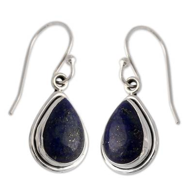 Lapis lazuli dangle earrings, 'Midnight Sky' - Fair Trade Sterling Silver and Lapis Lazuli Earrings