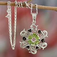 Peridot and smoky quartz pendant necklace, 'Bright Snowflake' - Peridot and smoky quartz pendant necklace