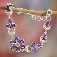 Amethyst flower bracelet, 'Lilac Blossom' - Handcrafted Floral Amethyst Bracelet