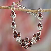 Garnet flower bracelet, 'Cherry Blossom' - Floral Sterling Silver and Garnet Bracelet