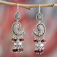 Garnet chandelier earrings, 'Paisley Peacock'