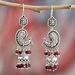Sterling Silver and Garnet Chandelier Earrings from India, 'Paisley Peacock'