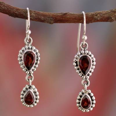 Garnet Dangle Earrings Halo Of Beauty In Sterling Silver From