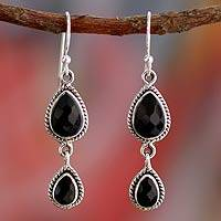 Onyx dangle earrings, 'Midnight Teardrops' - Onyx Earrings Handmade with Sterling Silver India Jewelry