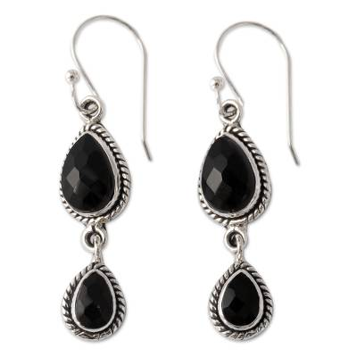 Onyx Earrings Handmade with Sterling Silver India Jewelry