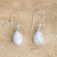 Rainbow moonstone dangle earrings, 'Luminous Light' - Unique Moonstone and Sterling Silver Earrings from India