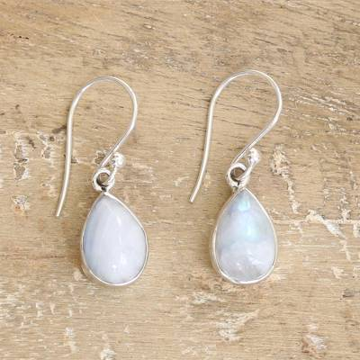 Rainbow Moonstone Dangle Earrings Luminous Light India Sterling Silver
