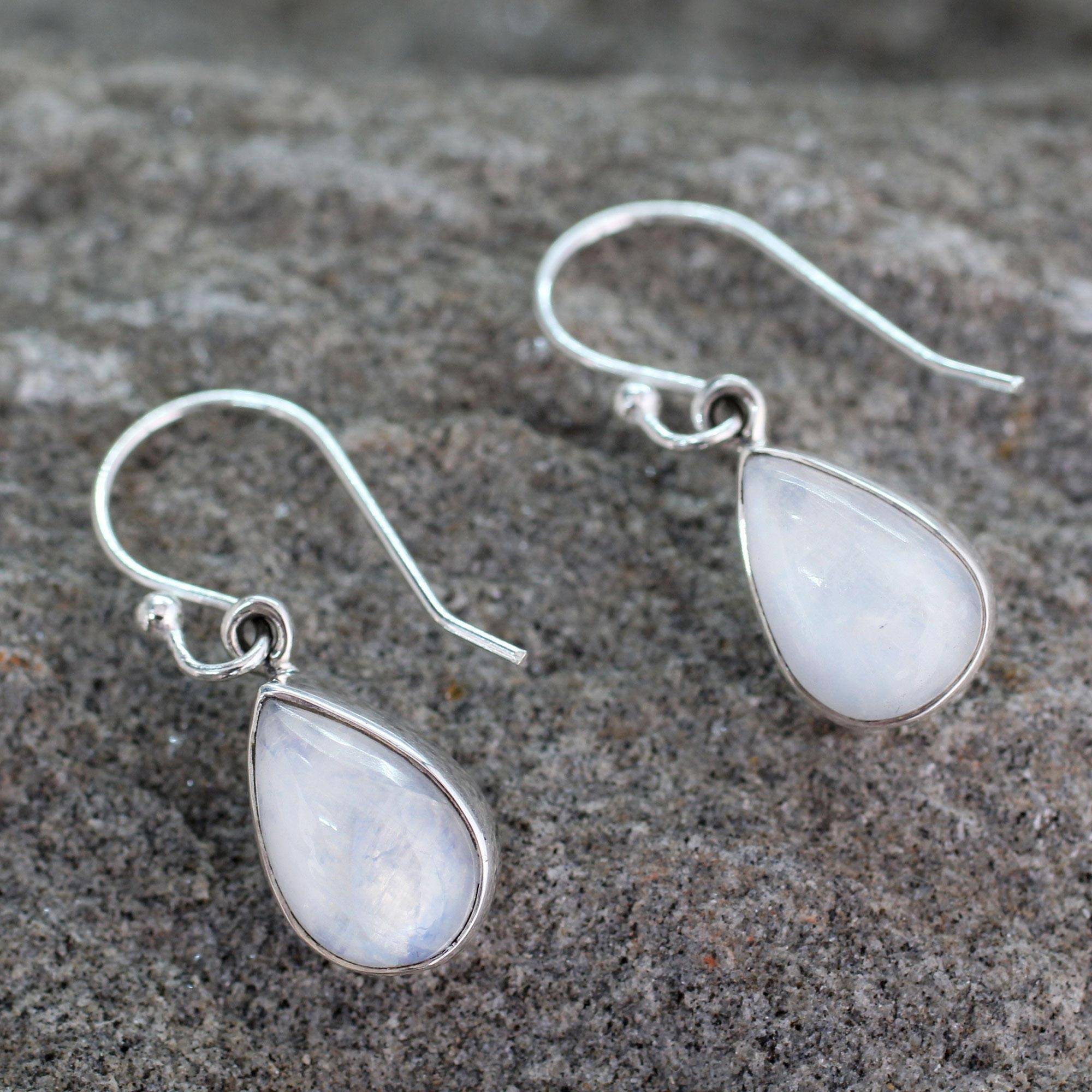 Rainbow moonstone dangle earrings, 'Luminous Light' Sterling Silver drop earrings Jewelry Trends