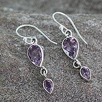 Amethyst dangle earrings, 'Violet Distinction' - Handcrafted Amethyst Jewelry Sterling Silver Earrings