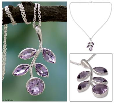 Amethyst pendant necklace, 'Lilac Leaves' - Unique Amethyst Pendant Necklace