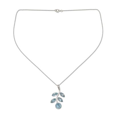 Unique Blue Topaz and Sterling Silver Pendant Necklace