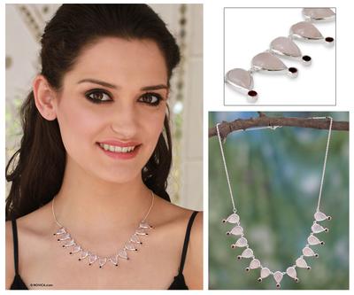 Rose quartz and garnet waterfall necklace, 'Love's Secret' - Unique Rose Quartz Waterfall Necklace