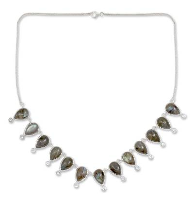 Modern Labradorite Waterfall Necklace