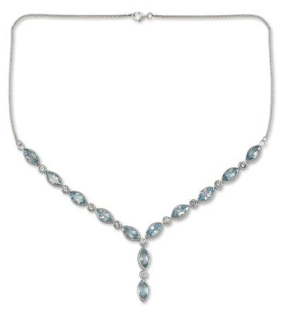 Blue topaz Y necklace, 'Sky Dreamer' - Handcrafted Sterling Silver and Blue Topaz Y Necklace