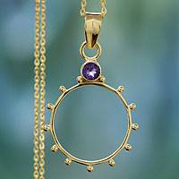 Gold vermeil amethyst pendant necklace, 'Morning Hope' - Gold Vermeil and Amethyst Necklace Modern Jewelry