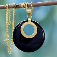 Gold vermeil onyx pendant necklace, 'Skylight' - Gold Vermeil Onyx Necklace Jewelry from India