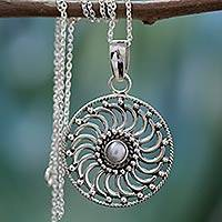 Cultured pearl pendant necklace, 'Whirlwind' - Sterling Silver and Pearl Pendant Necklace