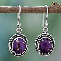Sterling silver dangle earrings, 'Purple Majesty' - Sterling silver dangle earrings