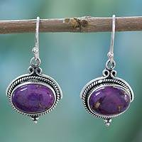 Sterling silver dangle earrings, 'Royal Purple' - Composite Turquoise and Sterling Silver Earrings